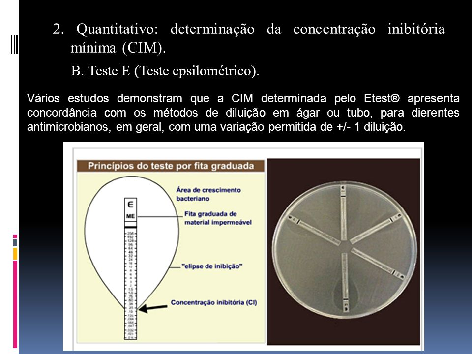 2. Quantitativo: determinação da concentração inibitória mínima (CIM). B. Teste E (Teste epsilométrico). Vários estudos demonstram que a CIM determina