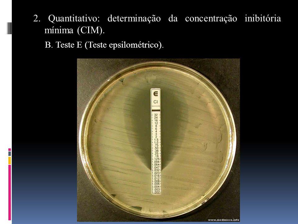 2. Quantitativo: determinação da concentração inibitória mínima (CIM). B. Teste E (Teste epsilométrico).