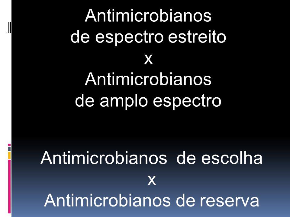 Antimicrobianos de escolha x Antimicrobianos de reserva Antimicrobianos de espectro estreito x Antimicrobianos de amplo espectro