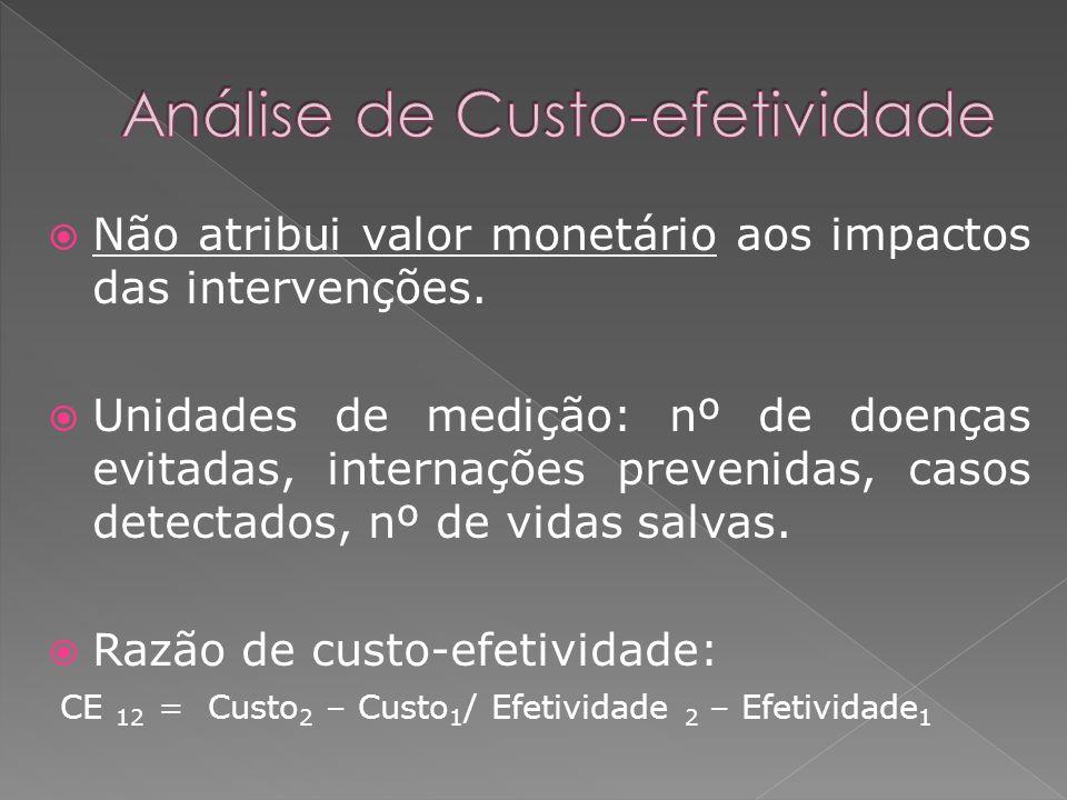 Não atribui valor monetário aos impactos das intervenções. Unidades de medição: nº de doenças evitadas, internações prevenidas, casos detectados, nº d