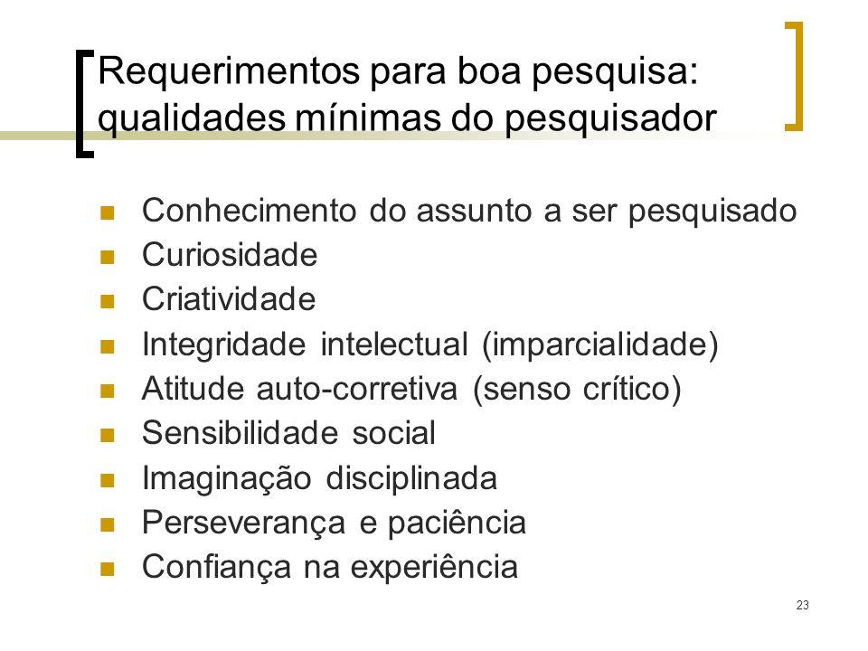 23 Requerimentos para boa pesquisa: qualidades mínimas do pesquisador Conhecimento do assunto a ser pesquisado Curiosidade Criatividade Integridade in