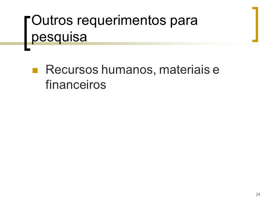 24 Outros requerimentos para pesquisa Recursos humanos, materiais e financeiros