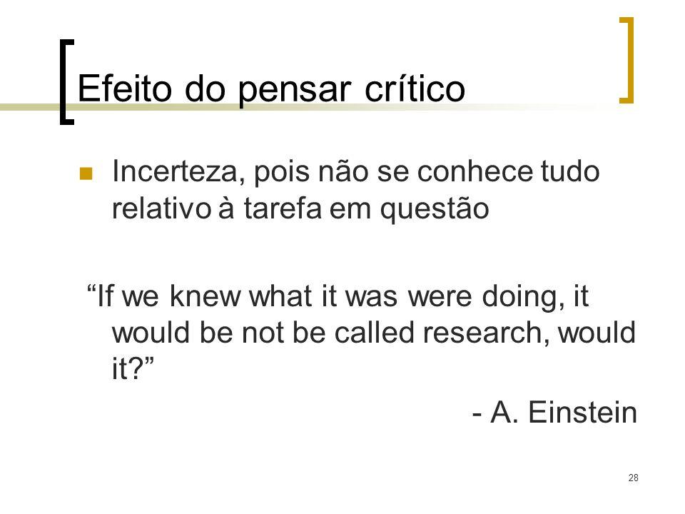28 Efeito do pensar crítico Incerteza, pois não se conhece tudo relativo à tarefa em questão If we knew what it was were doing, it would be not be cal