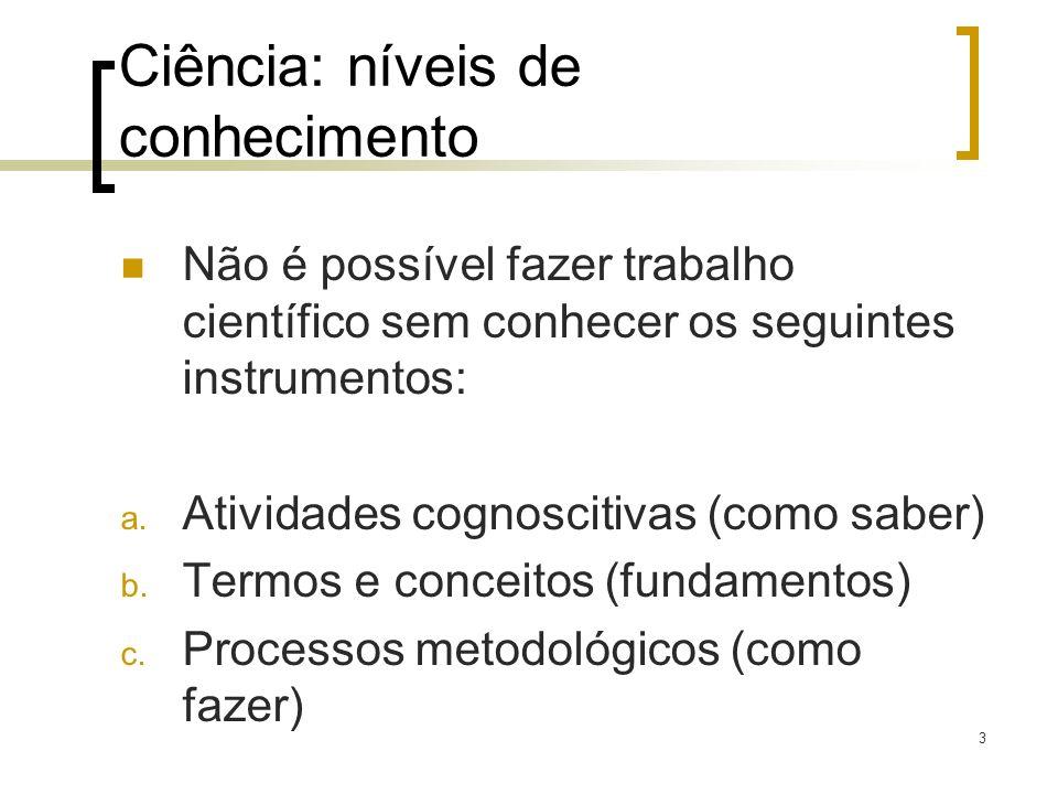 3 Ciência: níveis de conhecimento Não é possível fazer trabalho científico sem conhecer os seguintes instrumentos: a. Atividades cognoscitivas (como s
