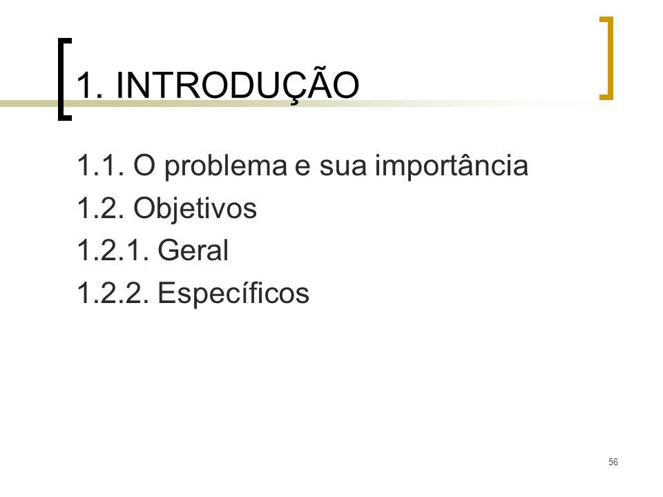 56 1. INTRODUÇÃO 1.1. O problema e sua importância 1.2. Objetivos 1.2.1. Geral 1.2.2. Específicos
