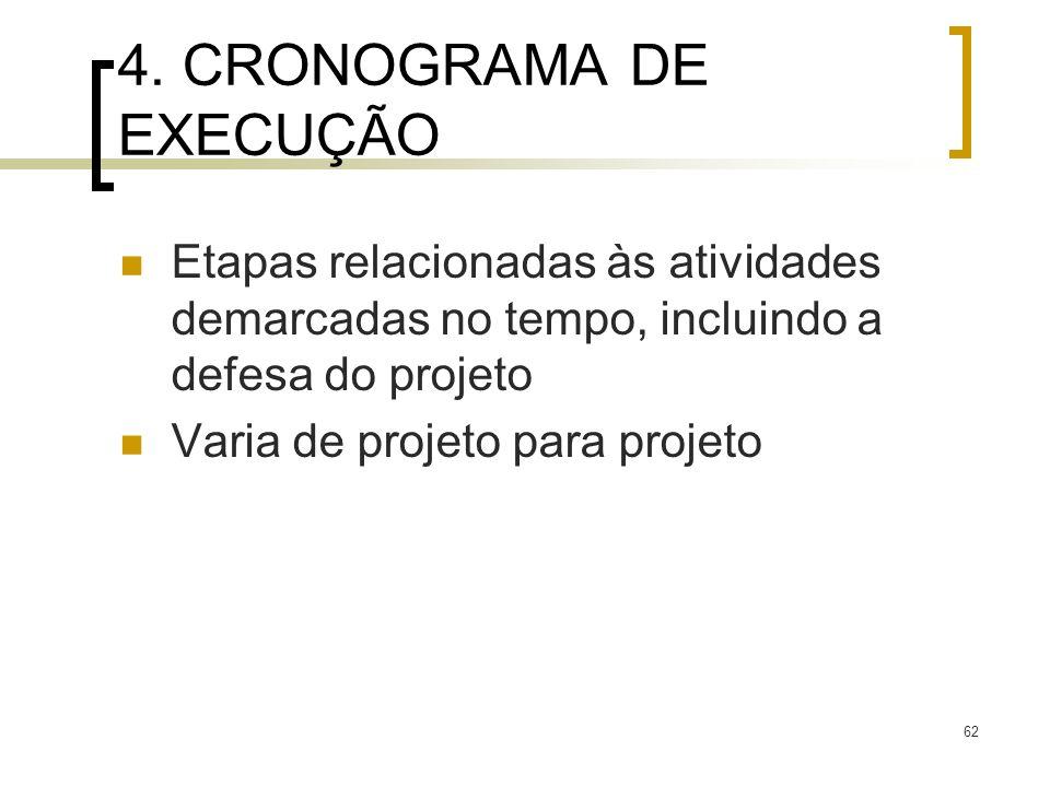 62 4. CRONOGRAMA DE EXECUÇÃO Etapas relacionadas às atividades demarcadas no tempo, incluindo a defesa do projeto Varia de projeto para projeto