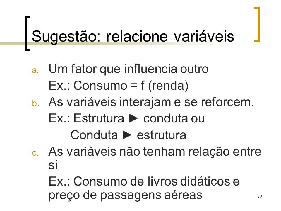 73 Sugestão: relacione variáveis a. Um fator que influencia outro Ex.: Consumo = f (renda) b. As variáveis interajam e se reforcem. Ex.: Estrutura con