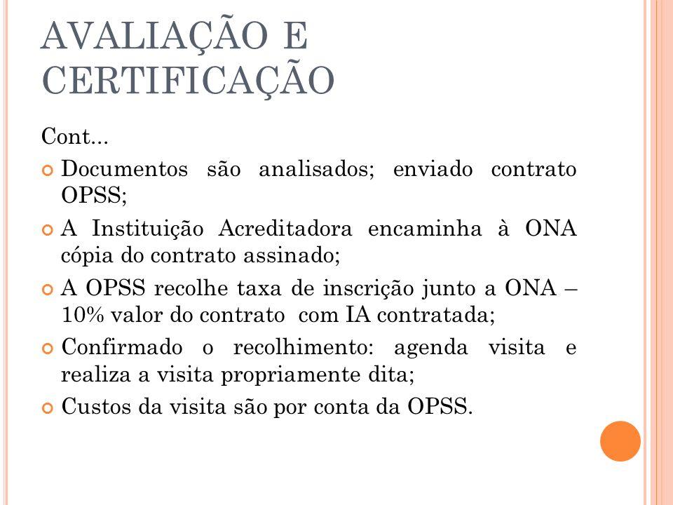 AVALIAÇÃO E CERTIFICAÇÃO Cont... Documentos são analisados; enviado contrato OPSS; A Instituição Acreditadora encaminha à ONA cópia do contrato assina