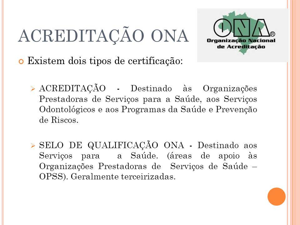 ACREDITAÇÃO ONA Existem dois tipos de certificação: ACREDITAÇÃO - Destinado às Organizações Prestadoras de Serviços para a Saúde, aos Serviços Odontol