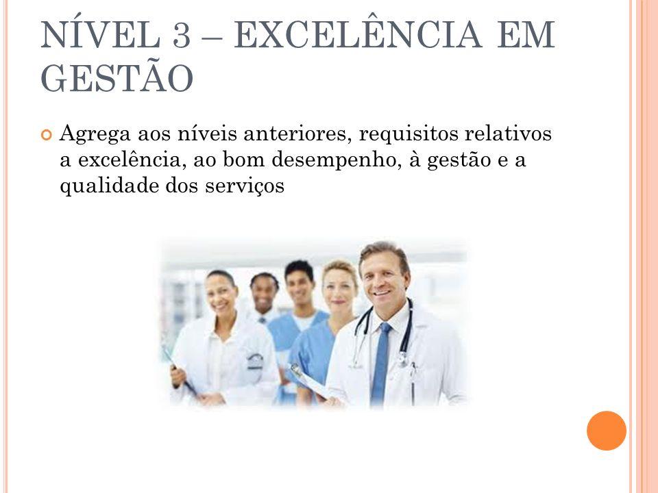 NÍVEL 3 – EXCELÊNCIA EM GESTÃO Agrega aos níveis anteriores, requisitos relativos a excelência, ao bom desempenho, à gestão e a qualidade dos serviços