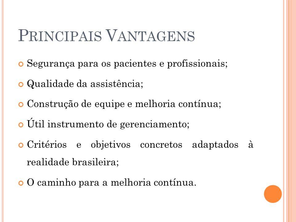 P RINCIPAIS V ANTAGENS Segurança para os pacientes e profissionais; Qualidade da assistência; Construção de equipe e melhoria contínua; Útil instrumen