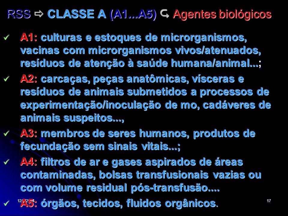 12/1/201417 RSS CLASSE A (A1...A5) Agentes biológicos A1: culturas e estoques de microrganismos, vacinas com microrganismos vivos/atenuados, resíduos