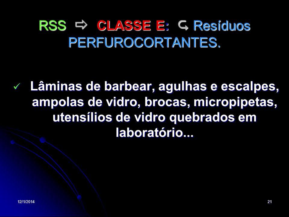 12/1/201421 RSS CLASSE E: Resíduos PERFUROCORTANTES. Lâminas de barbear, agulhas e escalpes, ampolas de vidro, brocas, micropipetas, utensílios de vid