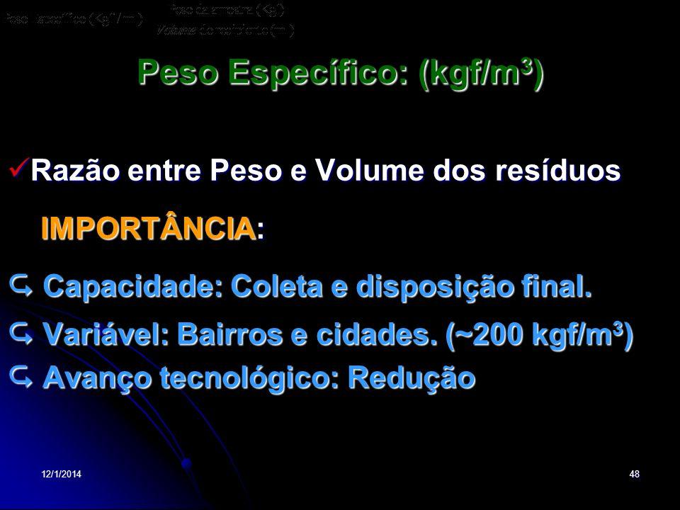 12/1/201448 Peso Específico: (kgf/m 3 ) Razão entre Peso e Volume dos resíduos Razão entre Peso e Volume dos resíduos IMPORTÂNCIA: IMPORTÂNCIA: Capaci