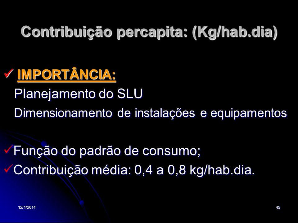 12/1/201449 Contribuição percapita: (Kg/hab.dia) IMPORTÂNCIA: IMPORTÂNCIA: Planejamento do SLU Planejamento do SLU Dimensionamento de instalações e eq