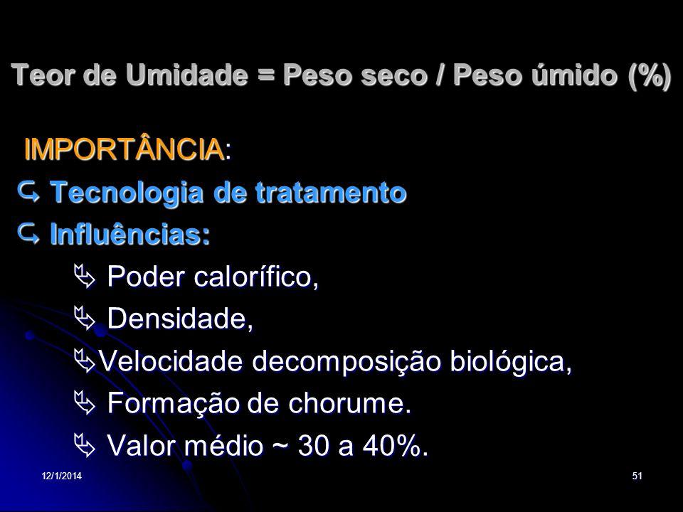 12/1/201451 Teor de Umidade = Peso seco / Peso úmido (%) IMPORTÂNCIA: IMPORTÂNCIA: Tecnologia de tratamento Tecnologia de tratamento Influências: Infl