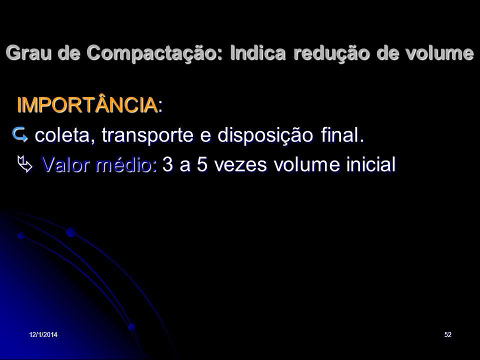 12/1/201452 Grau de Compactação: Indica redução de volume IMPORTÂNCIA: IMPORTÂNCIA: coleta, transporte e disposição final. coleta, transporte e dispos