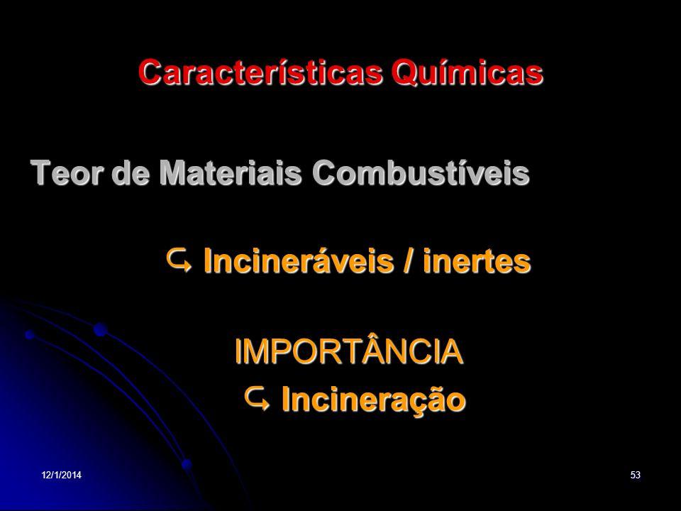 12/1/201453 Características Químicas Teor de Materiais Combustíveis Teor de Materiais Combustíveis Incineráveis / inertes Incineráveis / inertesIMPORT