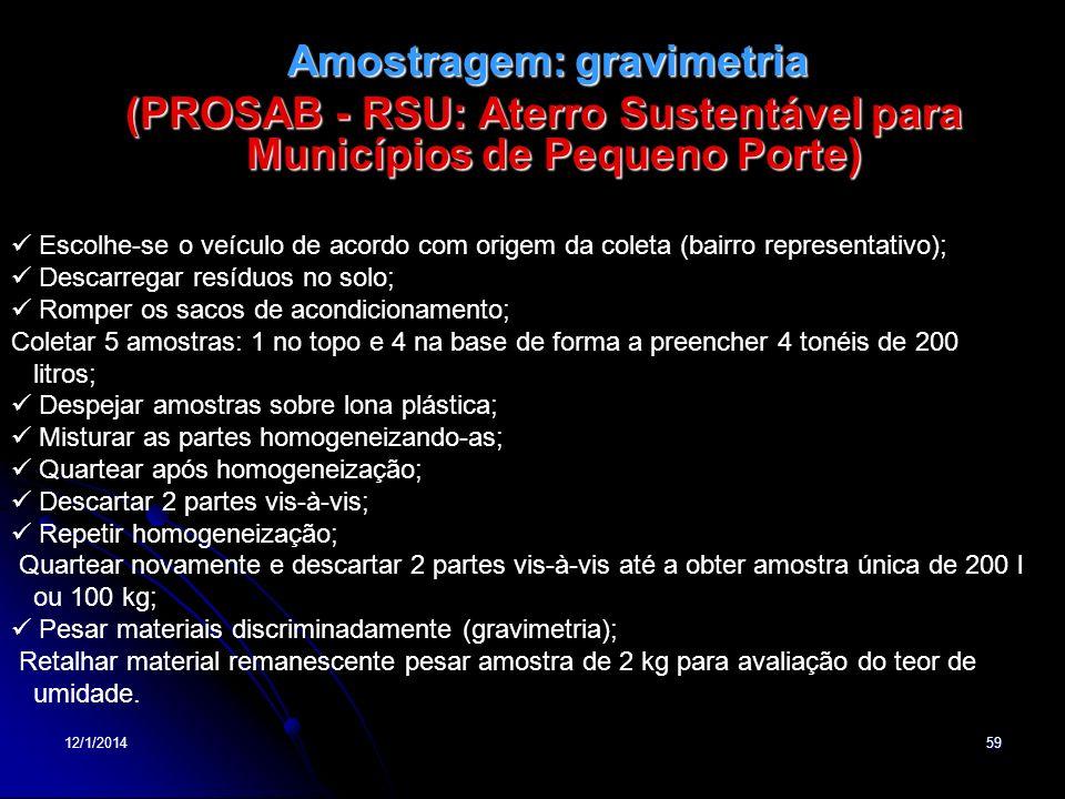 12/1/201459 Amostragem: gravimetria Amostragem: gravimetria (PROSAB - RSU: Aterro Sustentável para Municípios de Pequeno Porte) Escolhe-se o veículo d