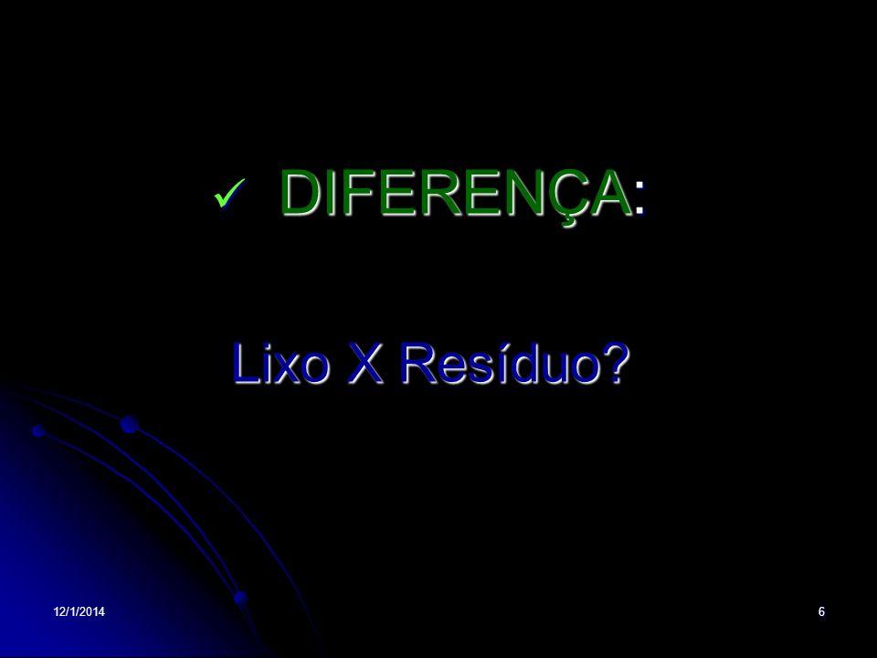 12/1/20146 DIFERENÇA: DIFERENÇA: Lixo X Resíduo?