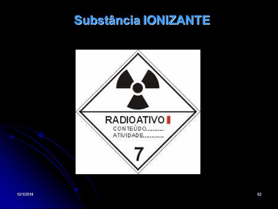 12/1/201462 Substância IONIZANTE