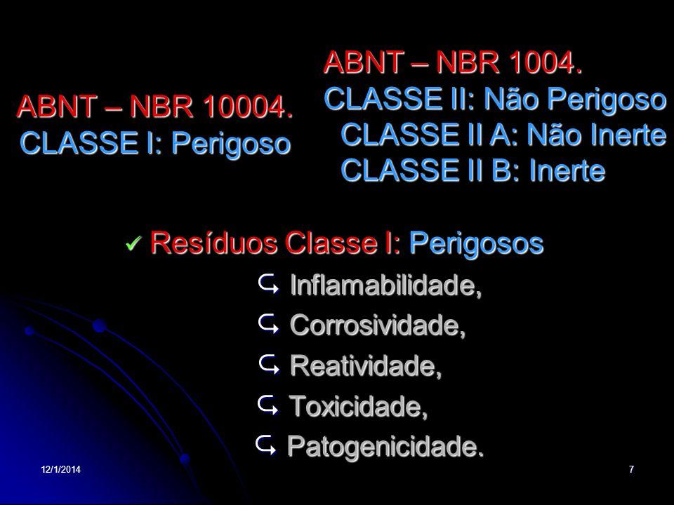 12/1/20147 ABNT – NBR 10004. CLASSE I: Perigoso Resíduos Classe I: Perigosos Resíduos Classe I: Perigosos Inflamabilidade, Inflamabilidade, Corrosivid