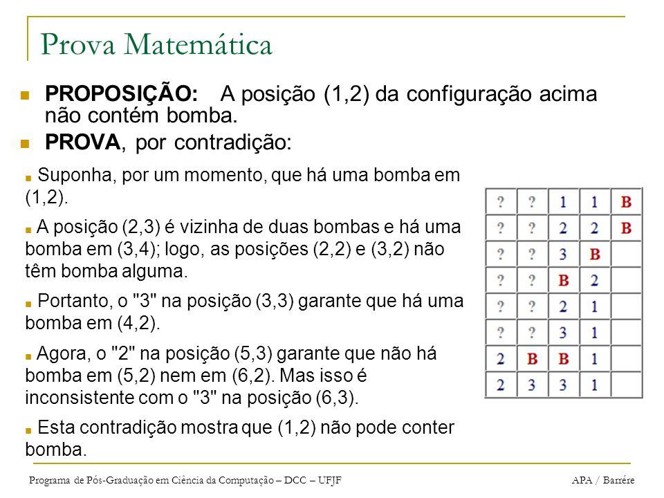 Programa de Pós-Graduação em Ciência da Computação – DCC – UFJF APA / Barrére Prova Matemática PROPOSIÇÃO: A posição (1,2) da configuração acima não c