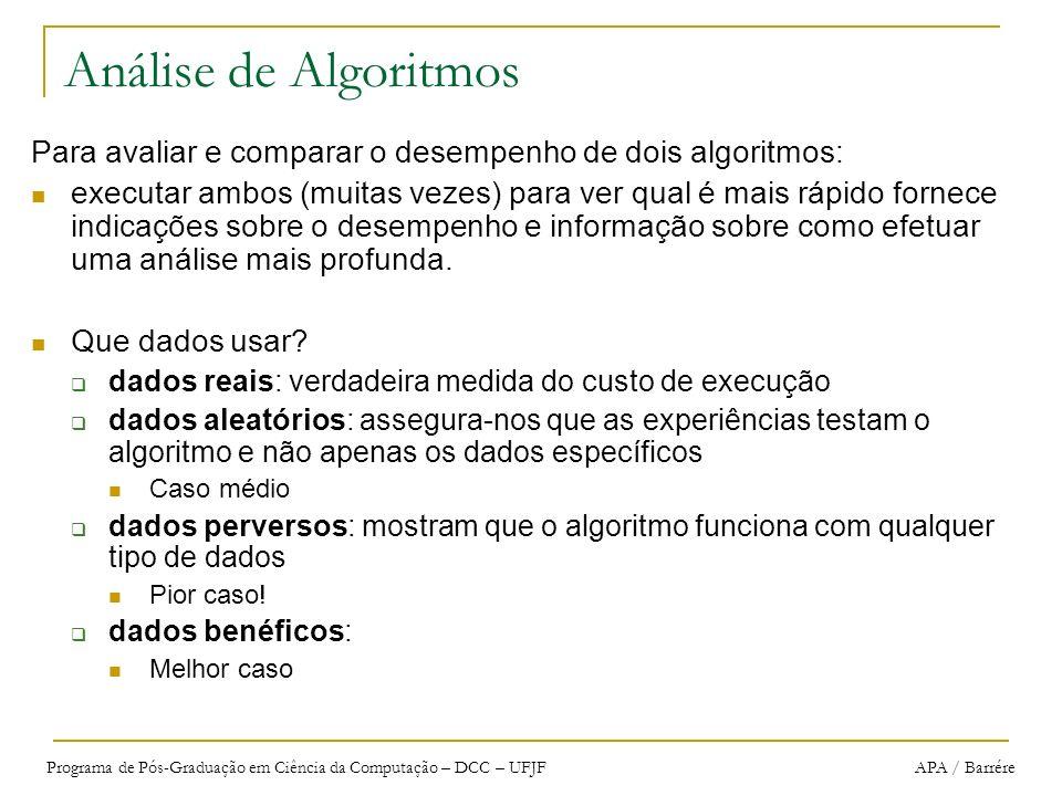 Programa de Pós-Graduação em Ciência da Computação – DCC – UFJF APA / Barrére Análise de Algoritmos Para avaliar e comparar o desempenho de dois algor