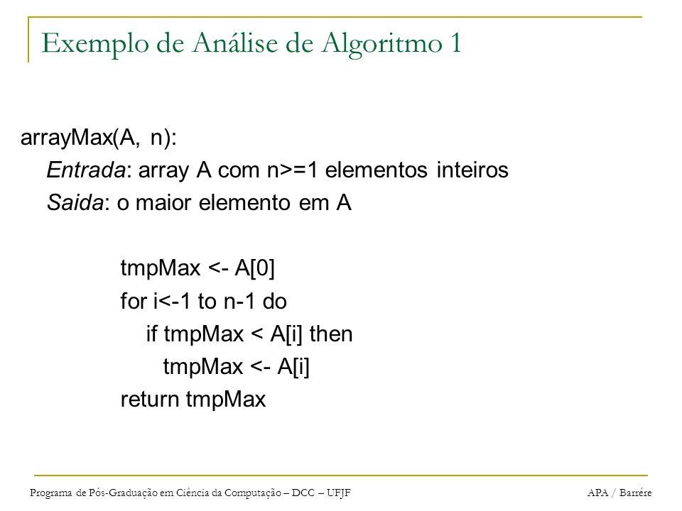 Programa de Pós-Graduação em Ciência da Computação – DCC – UFJF APA / Barrére Exemplo de Análise de Algoritmo 1 arrayMax(A, n): Entrada: array A com n