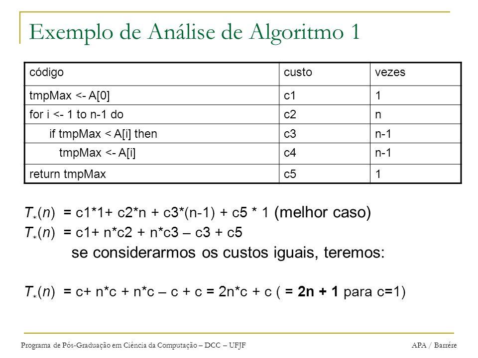 Programa de Pós-Graduação em Ciência da Computação – DCC – UFJF APA / Barrére Exemplo de Análise de Algoritmo 1 T (n) = c1*1+ c2*n + c3*(n-1) + c5 * 1