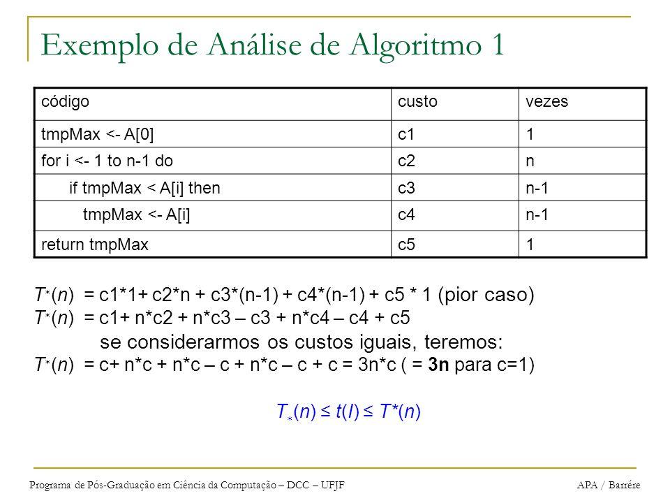 Programa de Pós-Graduação em Ciência da Computação – DCC – UFJF APA / Barrére Exemplo de Análise de Algoritmo 1 T (n) = c1*1+ c2*n + c3*(n-1) + c4*(n-