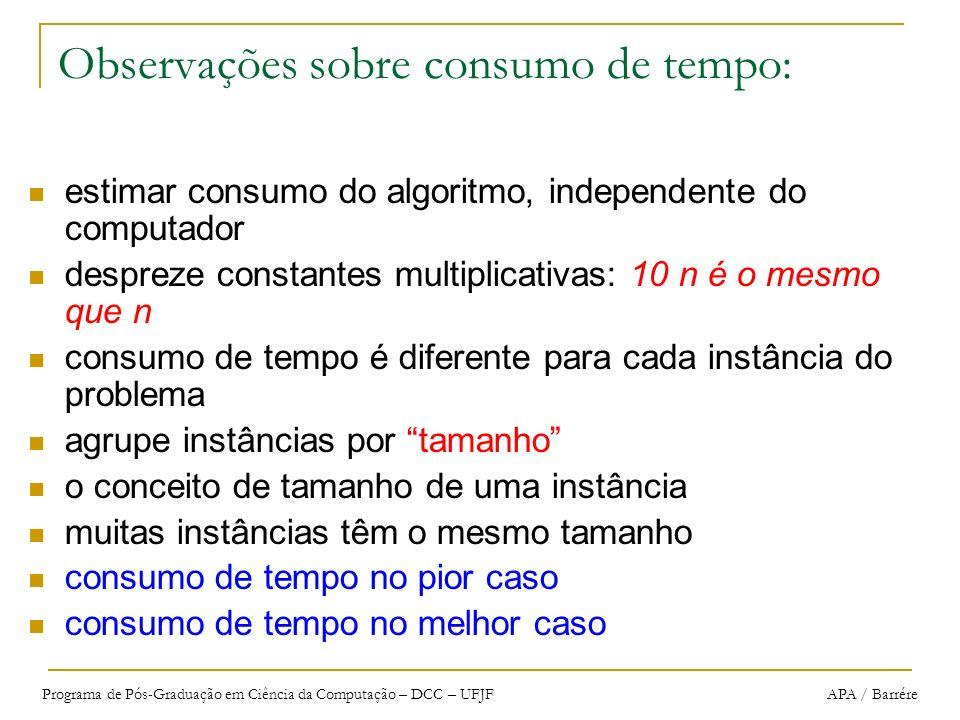 Programa de Pós-Graduação em Ciência da Computação – DCC – UFJF APA / Barrére Observações sobre consumo de tempo: estimar consumo do algoritmo, indepe