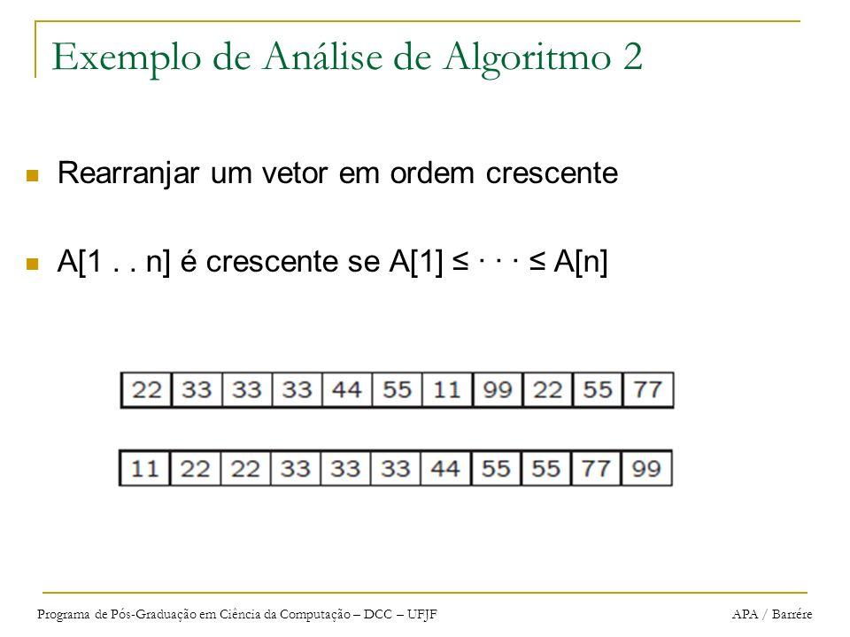 Programa de Pós-Graduação em Ciência da Computação – DCC – UFJF APA / Barrére Exemplo de Análise de Algoritmo 2 Rearranjar um vetor em ordem crescente