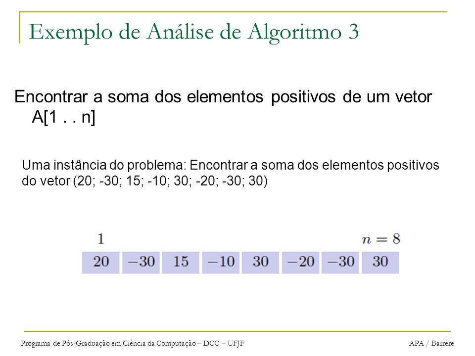 Programa de Pós-Graduação em Ciência da Computação – DCC – UFJF APA / Barrére Exemplo de Análise de Algoritmo 3 Encontrar a soma dos elementos positiv