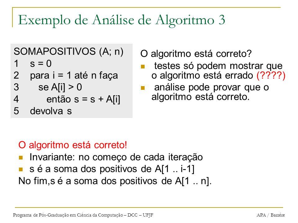 Programa de Pós-Graduação em Ciência da Computação – DCC – UFJF APA / Barrére Exemplo de Análise de Algoritmo 3 O algoritmo está correto! Invariante: