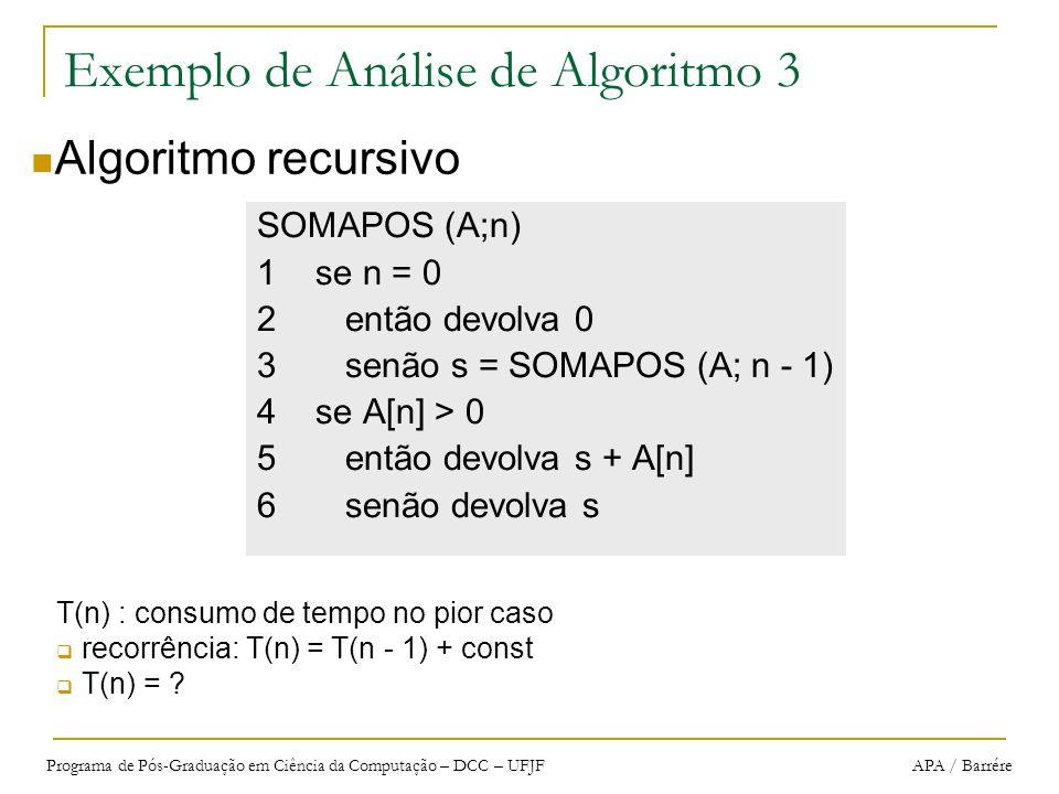 Programa de Pós-Graduação em Ciência da Computação – DCC – UFJF APA / Barrére Exemplo de Análise de Algoritmo 3 SOMAPOS (A;n) 1 se n = 0 2 então devol