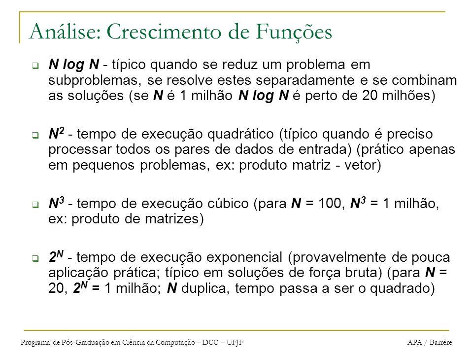Programa de Pós-Graduação em Ciência da Computação – DCC – UFJF APA / Barrére Análise: Crescimento de Funções N log N - típico quando se reduz um prob