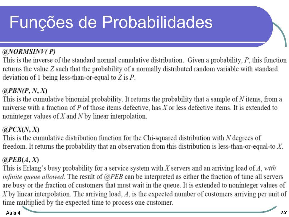 Aula 4 13 Funções de Probabilidades