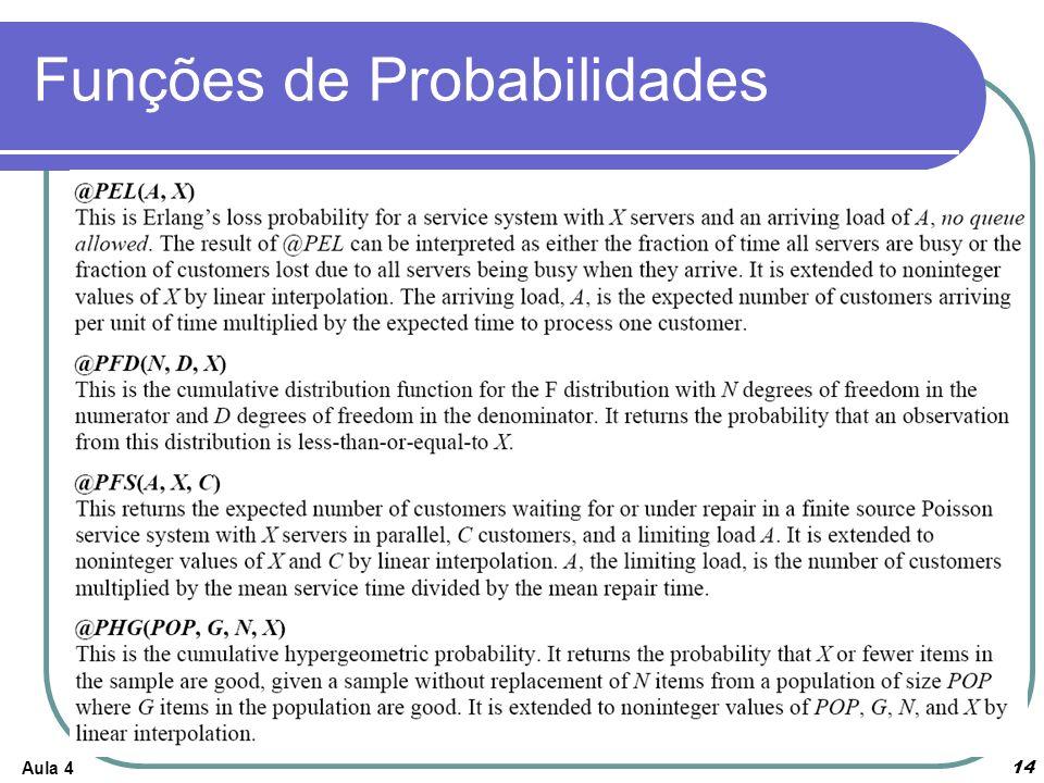Aula 4 14 Funções de Probabilidades