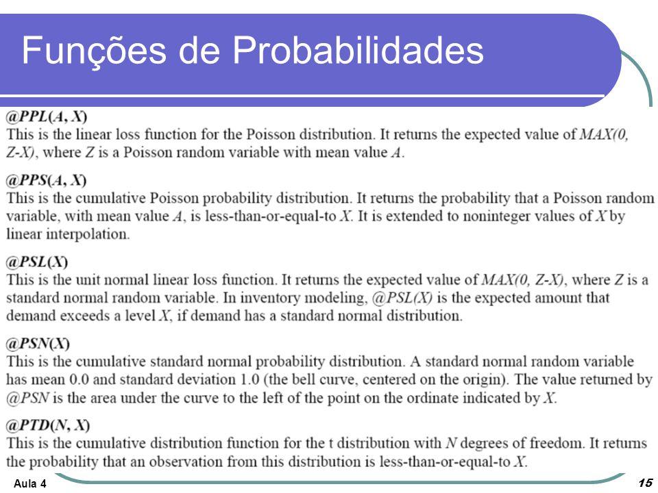 Aula 4 15 Funções de Probabilidades
