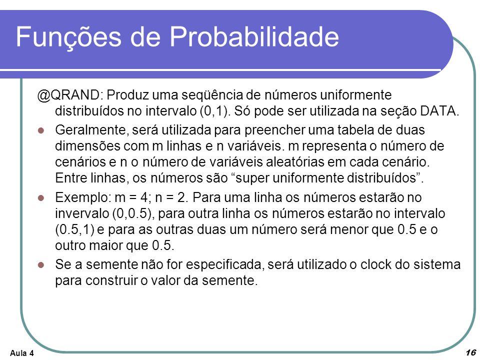 Funções de Probabilidade @QRAND: Produz uma seqüência de números uniformente distribuídos no intervalo (0,1). Só pode ser utilizada na seção DATA. Ger