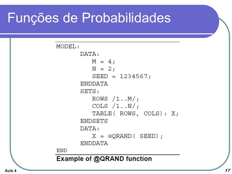 Aula 4 17 Funções de Probabilidades