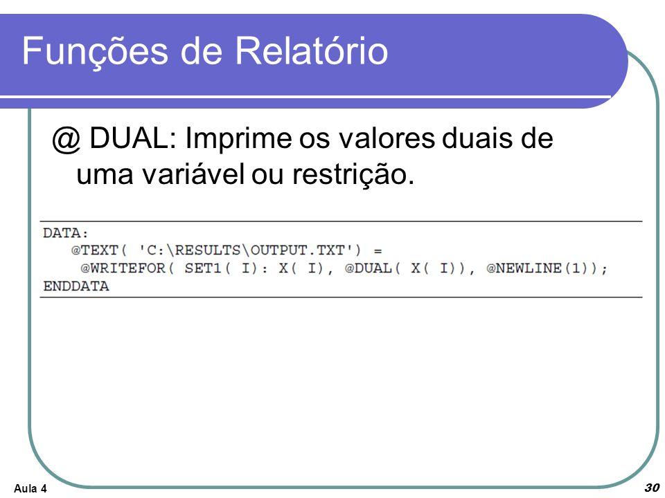 Funções de Relatório Aula 4 30 @ DUAL: Imprime os valores duais de uma variável ou restrição.