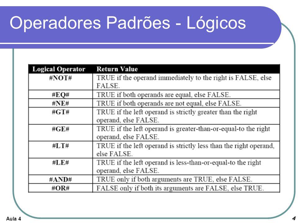 Aula 4 4 Operadores Padrões - Lógicos