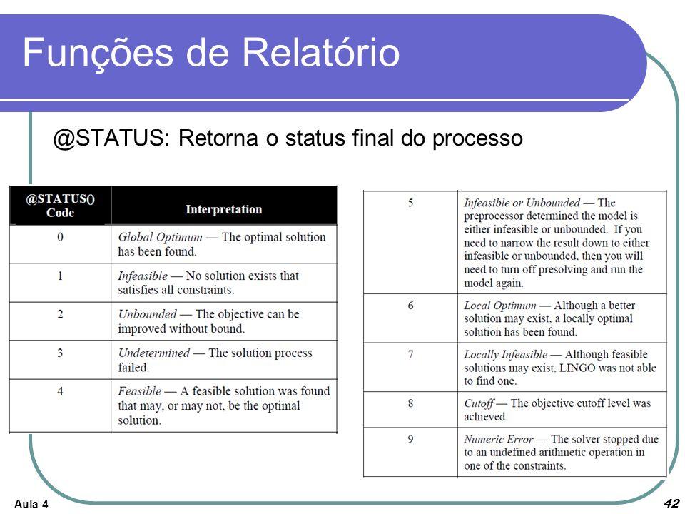 Funções de Relatório Aula 4 42 @STATUS: Retorna o status final do processo