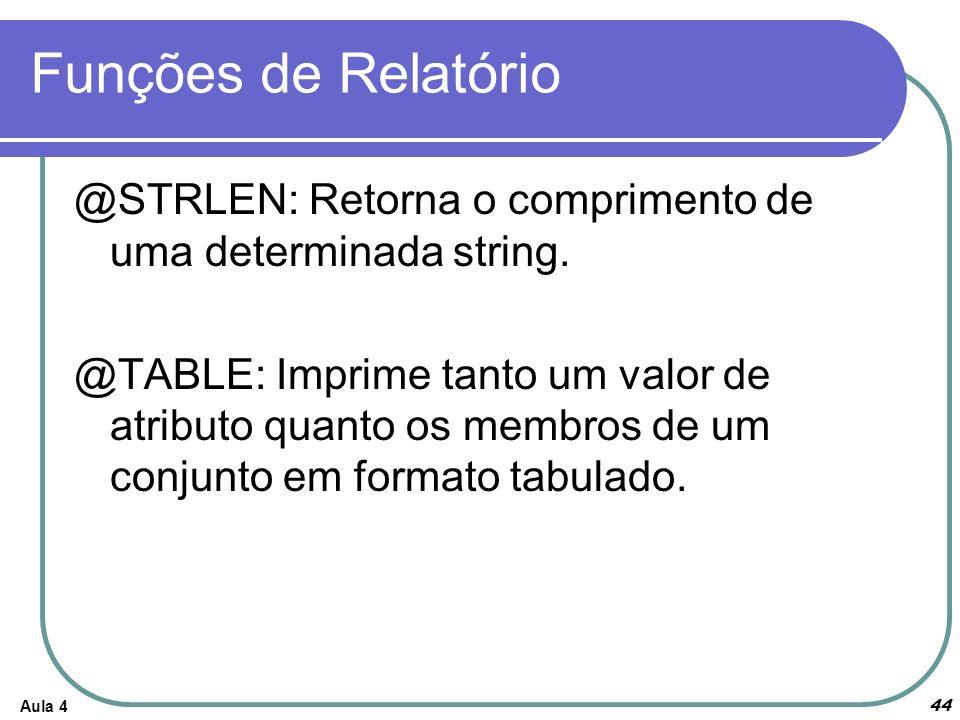 Funções de Relatório Aula 4 44 @STRLEN: Retorna o comprimento de uma determinada string. @TABLE: Imprime tanto um valor de atributo quanto os membros
