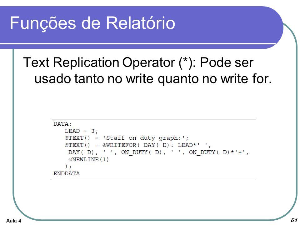Funções de Relatório Aula 4 51 Text Replication Operator (*): Pode ser usado tanto no write quanto no write for.