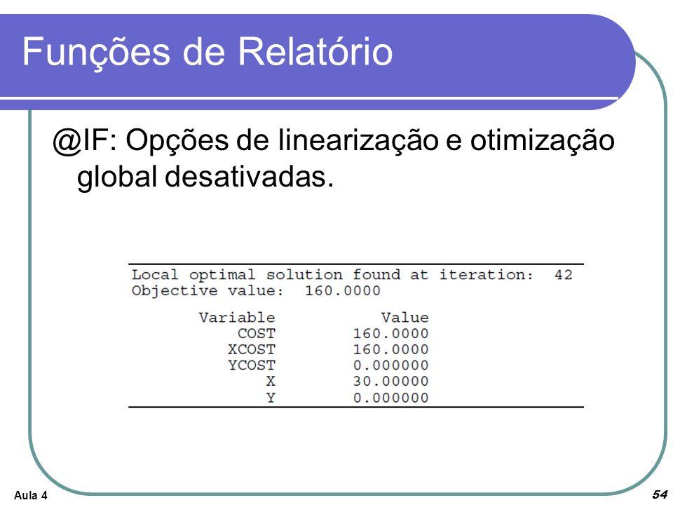Funções de Relatório Aula 4 54 @IF: Opções de linearização e otimização global desativadas.