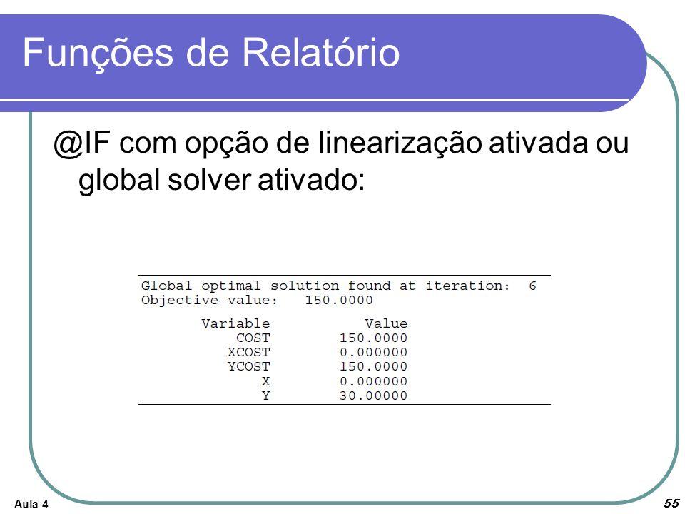 Funções de Relatório Aula 4 55 @IF com opção de linearização ativada ou global solver ativado: