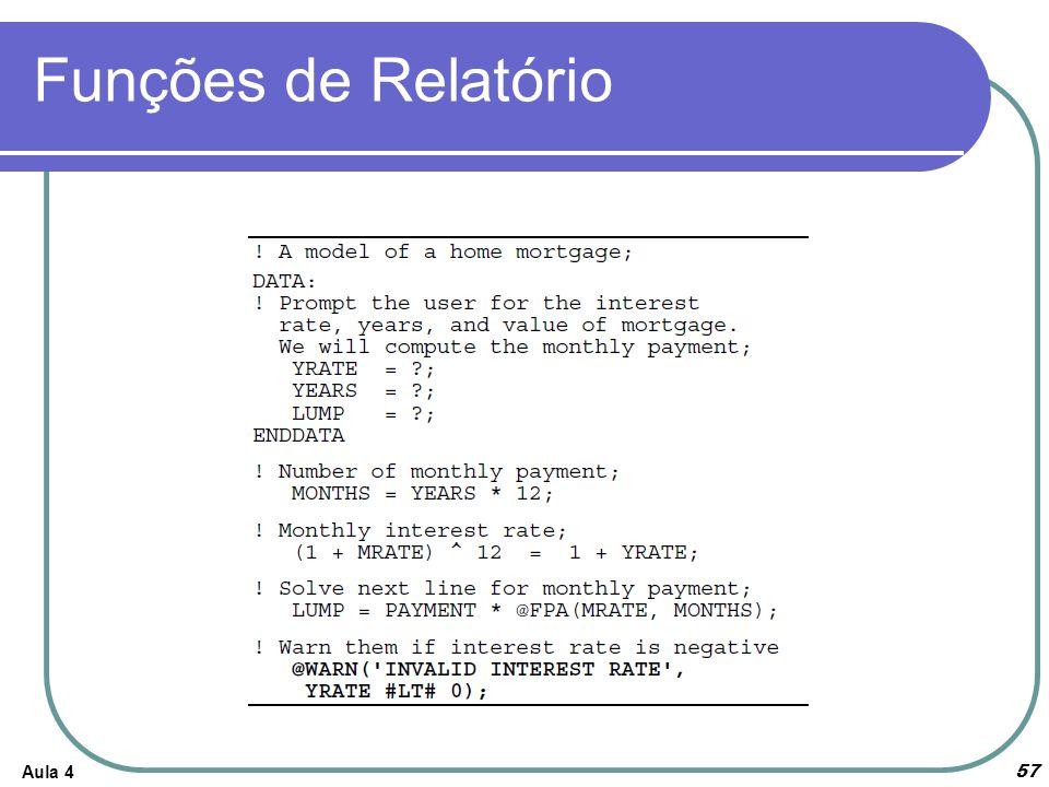 Funções de Relatório Aula 4 57